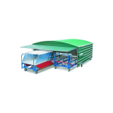 Shed on swiveling wheels for 2 hurdle carts