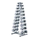 Chrome stand for 10 pairs of chrome dumbbells