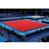 Competition Sprung Floor 14 x 14 m Glasgow with roll-up mats - FIG approved - with unmounted springs