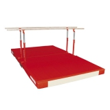 Compact parallel bars with folding legs, transport trolleys and custom folding mat