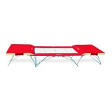Complete large competition trampoline - 4 x 4 mm bed - with end desks and mat - FIG approved