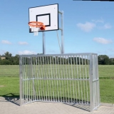 Soccer goals for Playgrounds, For insertion into ground sockets, with Basketball unit, 3x2 m