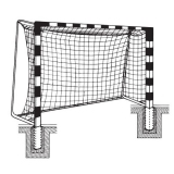 Handball goals, For insertion into ground sockets, with Rigid net hoops, with aluminium cast corner joints, 3x2 m