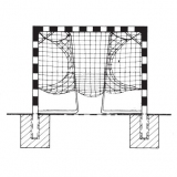 Handball goals, For insertion into ground sockets, with Folding net hoops, with aluminium cast corner joints, 3x2 m