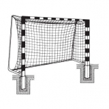 Handball goals, For insertion into ground sockets, with Rigid net hoops, with patented steel corner joints, 3x2 m