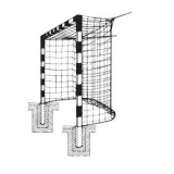 Handball goals, For insertion into ground sockets, with patented steel corner joints, 3x2 m
