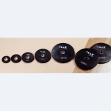 Discs rubber, black, with stainless steel bushing - for fitness and weightlifting