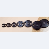 Discs rubber, black, with grips - for fitness and weightlifting