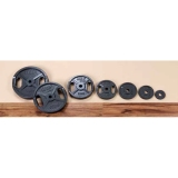 Dumbbell discs cast iron discs with grips (grey) - for fitness and weightlifting