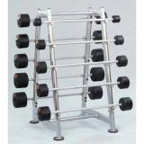 Barbell rack and rubber barbells - for fitness and weightlifting