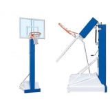 Basketball and mini-basket unit, foldable monotubular movable on wheels