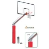 Basketball backstop with sockets