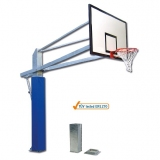 Basketball backstop with sockets