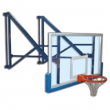 Basketball backboards, wall mounted, side folding