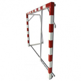 Handball goals, portable with ground base and hinged net supports