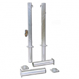 Tennis posts square, with net tensioner, galvanized steel, ground sockets - acc.to EN1510