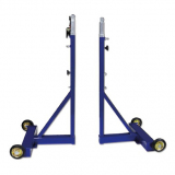 Badminton posts, mobile on wheels, height adjustable