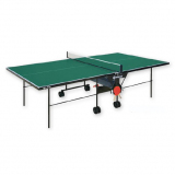 Tennis table, outdoor, foldable and movable on wheels, reinforced frame profile