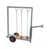 Hammer throw trolley, mobile on wheels