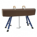 Pommel horse, covered with natural leather, adjustable height