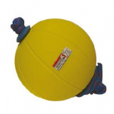 Medicine ball, rubber, with needle valve and rope -  for fitness training