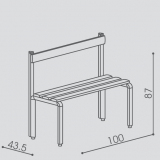 "Bench with backrest  series ""Q"""