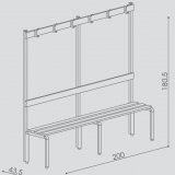 "Bench with a back and a hanger series ""Q"""