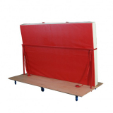 Transport trolley for vertical storage of mats