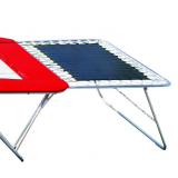 Large safety end decks for large competition trampolines