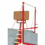 Access and spotting platform for assymetric and high bars