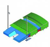 Pole-vault landing system standard shed